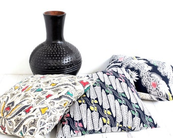 "3 Batik Pillow Covers, 18"" x 18"", Cotton, Traditional Batik,  Black and White, Zip Enclosure"