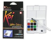 Sakura Koi Watercolor Sketch Box Travel Pan Set of 12 Colors and Water Brush
