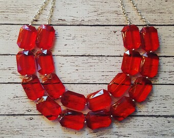 FREE EARRINGS, Red Transparent Chunky Statement Bib Necklace...Purchase 3 or more get 10% off