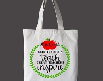 Great Teacher's Inspire Tote Bag, Market bag, teacher Bag, Beach Bag, Book Bag, Summer Bag, Canvas Bag