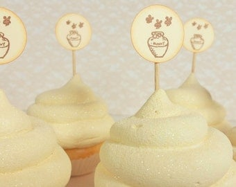 Baby Shower Cupcake Toppers or Food Picks Winnie the Pooh Honey Pot Set of 25