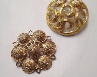 Pair of Vintage Medallion Brooches