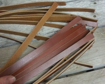 Leather Pieces for Ribbon Style Chokers or Bracelets - Russet Latigo - Real Leathers - Lot No. 161124-B