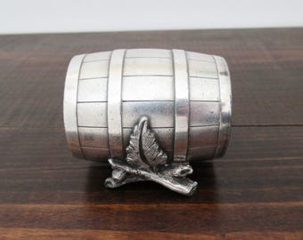 Antique Barrel Shaped Napkin Ring, Rare American Silverplate Napkin Ring, Oak Barrel with Sticks and Leaves Base