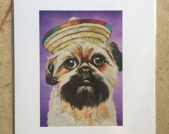 Spring Clearance Print of original painting dog in sombrero party hat