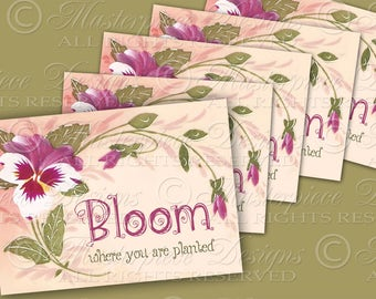Bloom Where You Are Planted / Hang Tags / Gift Tags / Spring / Flowers  - Printable Tags, Instant Download and Print Digital Sheet
