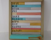 Cookbook Stand or Recipe Card Holder - Wood Cookbook Holder with Mini Wooden Spoon Flip Up Page Holder - Rustic Cookbook Stand 10x12