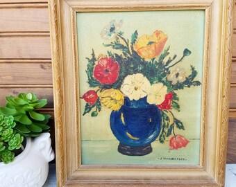 Vintage original floral painting, vintage art, artwork, oil on canvas painting, flower picture, framed, cottage decor, J. Hunsberger