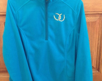 Women's Fleece Jacket-Long Sleeve-Size M-Intense Blue-Half Zip-Embroiderd Horseshoes