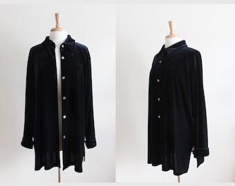 Vintage 1990s Oversize Black Velvet Button Down Tunic Top