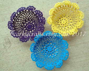 Crochet doily candy bowl, crochet basket, Valentine's gift, gifts for teacher, purple, yellow or turquoise to choose from too