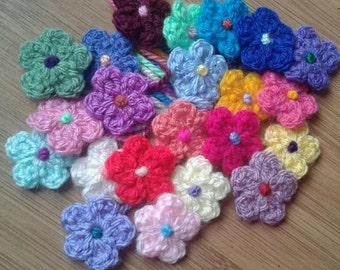 Tiny 2.5 cm Crochet Flowers  Mixed Pack of colours  Crochet Appliques  Embellishments  Cottage Chic  Shabby Chic