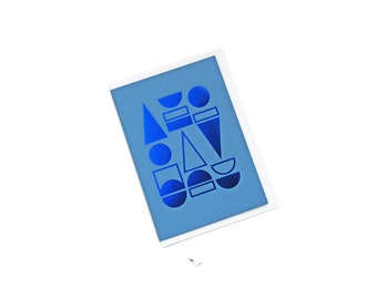 FOIL PRINTED CARD - Blue on Blue
