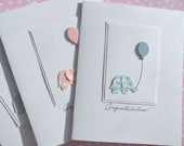 Baby Shower Cards - Baby Shower Thank You Cards - Baby Shower Invitations -  Welcome Baby cards - Balloon Cards - Elephant Cards  BECD