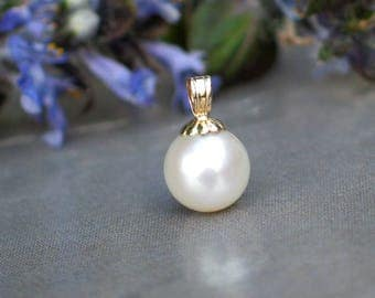 White Pearl Pendant | 8mm Freshwater Pearl | 14K Solid Gold | Fluted Detail | June Birthstone | Wedding | Everyday Pearl | Ready to Ship
