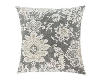 NEUTRAL Brown Grey Pillow Cover.Decorator Pillow Cover.Home Decor.Large Print. BELMONT METAL. Cushions. Cushion.Pillow. Premier Prints