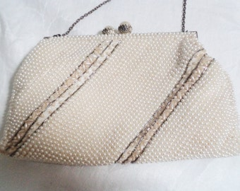 vintage beaded purse, pearls bag, vintage 50s purse, vintage 50s bag, womens 50s costume, 50s beaded bag, cream beaded bag