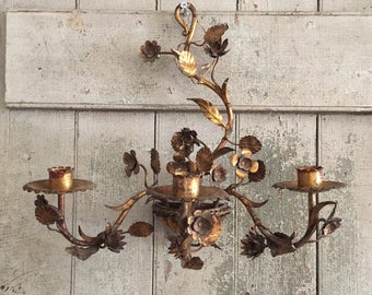 Italian Tole Gold Candle Sconce
