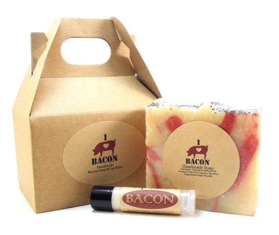 Gift Set Bacon Soap and Bacon Lip Balm for the Bacon Lover 4 oz. Soap .15 oz. Lip Balm  (Vegan Friendly)