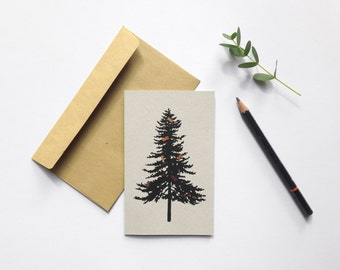Botanical Christmas tree card monochrome with shiny copper foil details holiday greetings eco-friendly risograph recycled card blank inside