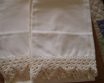 Vintage Set of White Pillow Cases with White Crochet Edge