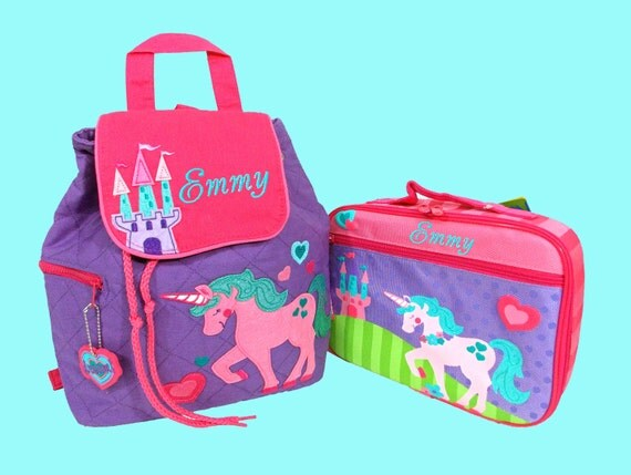 Personalized Child's Stephen Joseph UNICORN Backpack and Lunchbox School Set-Monogramming Included