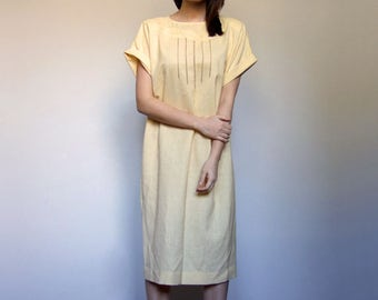 Vintage Summer Dress Pale Yellow Sundress 80s Light Yellow Dress Short Sleeve Dress T-shirt Dress Simple Sundress - Large L