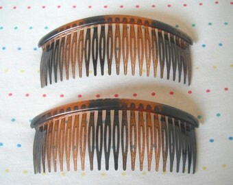 "Large Pair of Translucent Brown and Black Tortoiseshell Plastic Hair Combs, 5"" Wide"