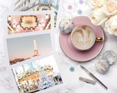 SALE Paris Holiday Notecards, Set of Four Paris Greeting Cards, Carousel, Eiffel Tower, Laduree, Holiday Note Cards