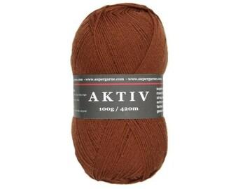 Supergarne Sock Yarn Aktiv superwash 4-ply Uni Solid 100g/459yd #2512 brown