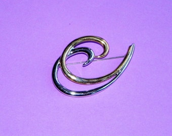 "Large Gold and Silver Monet Brooch or Pin, Two Toned Wave Pin 2 1/2"" Long"