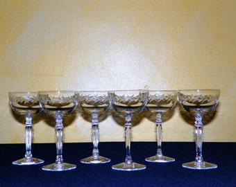 Fostoria Holly 5 1/4 Inch Cocktail Glasses, Set of 6, Etched Leaves in Stemmed Glasses, Fine Crystal Champagne