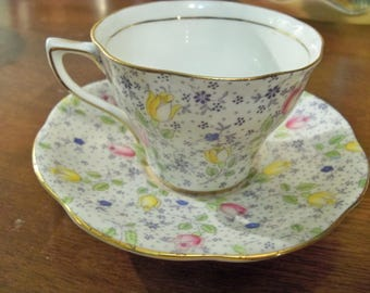 ROSINE bone china JUNE 4974  tulips tea cup and saucer