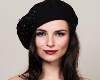 Black Beret in 100% Wool with Hand Beadwork and Lace Embellishment. French Style. Winter Hat.