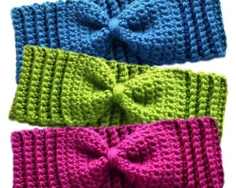 Subtle Bow Ear Warmers - PDF Crochet Pattern - Instant Download