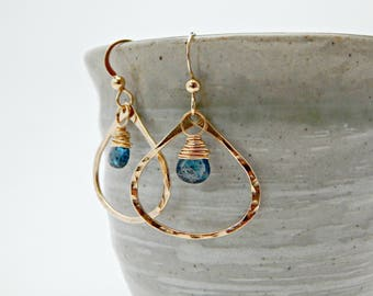 truth seeker. moss kyanite and 14k gold fill hoops. blue green gemstone earrings. rare gemstone. blue and gold earrings. yoga gift. adk.