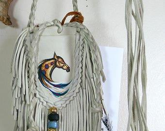 Native Buckskin Horse Painting Art Leather Medicine Bag Keepsake Pouch