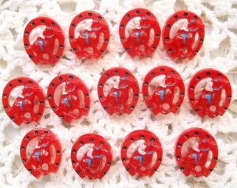 Baker's Dozen Vintage Red Horseshoe Buttons 13 Plastic with Cowboy or Cowgirl on Horse Western Country Charm