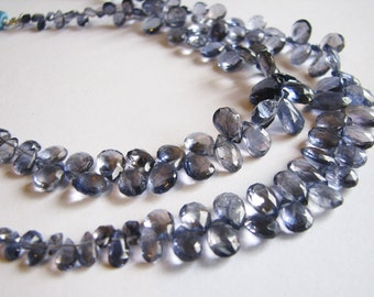 Stunning AAA Iolite faceted pear briolettes, full strand 7.5 inches, 4-10.5mm (w30)