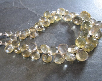 Stunning Lemon Quartz faceted heart briolettes, 8 inches, 6-12mm (w56)