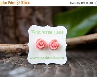 FINAL CLEARANCE Soft Pale Pink Rose Flower Post Earrings // Bridesmaid Gifts // Maid Of Honor Gifts // Bridesmaid Earrings