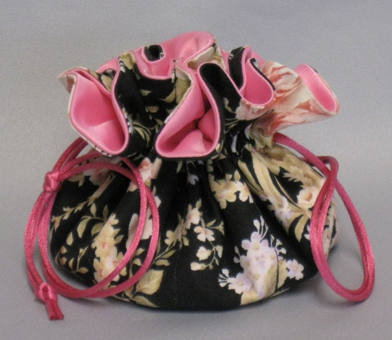 Jewelry Tote---Drawstring  Organizer Pouch---Rose Floral Design-----Medium Size