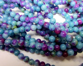 4mm blue purple  jade beads  blue gemstone beads 15 inch strand blue beads for jewelry making HPG032(A1A3)