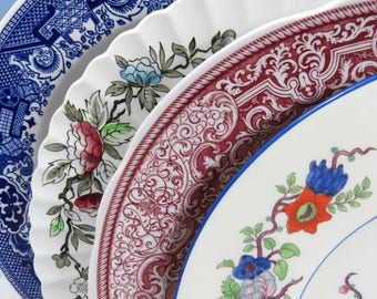 "Set of 4 Mismatched Ironstone Transferware China 10"" Dinner Plates, Mix and Match, Colorful, Vintage Wedding or Tea Party Wall Decor, DP49"