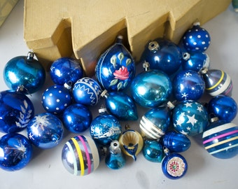 27 Vintage Blue Glass Christmas Tree Ornaments / Indents, Stencils