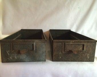 2 Vintage Metal Industrial Drawers
