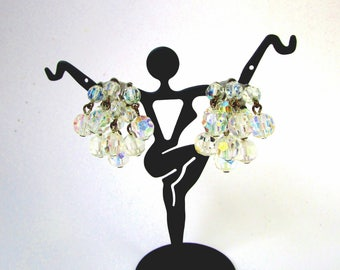 Vintage Crystal Aurora Borealis Estate 40's Cluster Haystack Linked Dangle Earrings Clip On Bride Wedding  Prom Mid Century Something Old