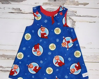 Ready to Ship! Elf on a Shelf Christmas Aline Dress Sz. 18 24 Months Handmade in USA Holiday Winter Portrait Readymade