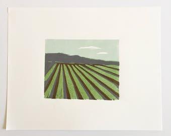 "Fanned Field • original linocut print 4x5"""