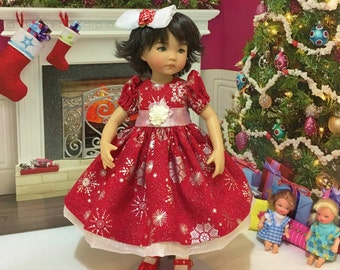 "Sale LD and H4H ""Snowflake Magic"" party dress and hair clip fits the Little Darling doll and the H4H doll and similiar 13 inch dolls"